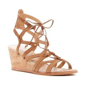 New Dolce Vita Lynnie Wedge Camel Sandals 7.5M